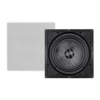 Monoprice In Wall Speaker 10 Inch (each) Carbon Fiber, 300 Watt Subwoofer, Home Theater, Easy Install - Alpha Series