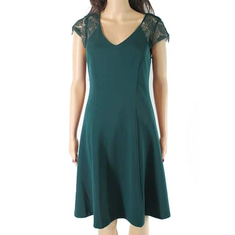 Kensie Women's Dress Emerald Green Size 6 A-Line V Neck Lace Seamed