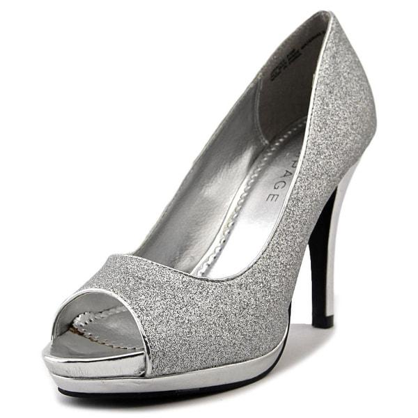 Rampage Gracee Women Peep-Toe Canvas Silver Heels