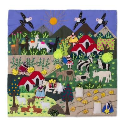 "Handmade Andean Harvest Cotton Blend Patchwork Wall Hanging (Peru) - 19.75"" L x 19.75"" W"