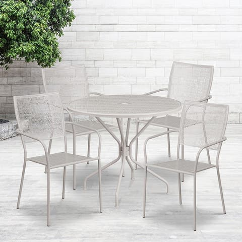 """35.25"""" Round Black Indoor-Outdoor Steel Patio Table Set w/ 4 Square Back Chairs"""