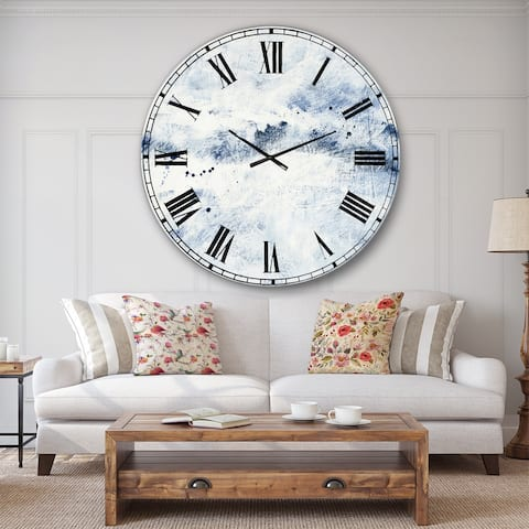 Designart 'Blue Wipe Out' Traditional Oversized Wall CLock