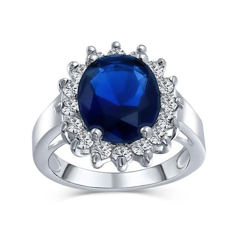 5CT Blue Oval Imitation Sapphire CZ Engagement Ring Silver Plated