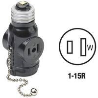 Leviton Blk Socket Adapter