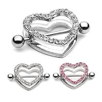 "Surgical Steel Gem Paved Heart Nipple Shield - 14GA 7/8"" Long (Sold Individually)"