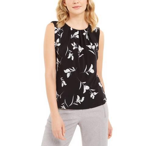 Calvin Klein Womens Petites Blouse Pleated Floral Print - Black/Cream