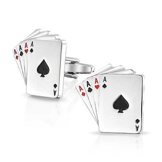 Bling Jewelry Stainless Steel Plated Poker Four of a Kind Aces Playing Cards Enamel Cufflinks