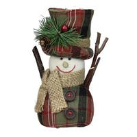 """6"""" Green and Red Plaid Snowman with Top Hat and Scarf Table Top Christmas Figure"""