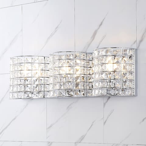 Clara Deco Metal/Crystal Glam LED Vanity Light, Chrome by JONATHAN Y
