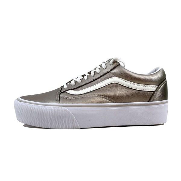 Shop Vans Men's Old Skool Platform Gray GoldTrue White