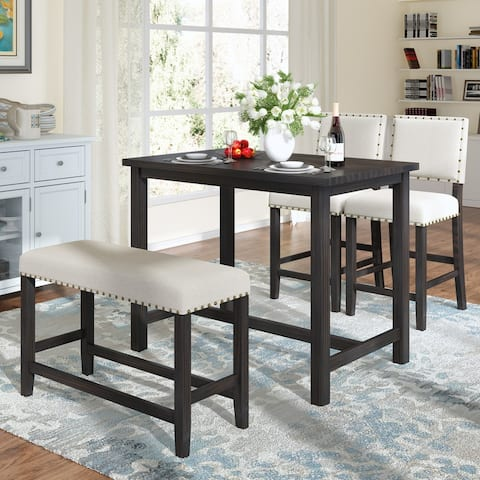 AOOLIVE 4PCS Rustic Dining Table Set with Upholstered Bench, Espresso