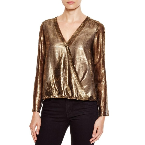 Cooper & Ella Womens Alyssa Blouse Metallic Sheer