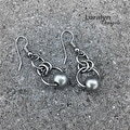 Loralyn Designs Silver Circle Bead Dangle Earrings Stainless Steel - Thumbnail 2
