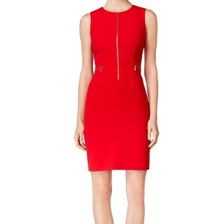 Calvin Klein NEW Red Women's Size 10 Crewneck Zip Front Sheath Dress