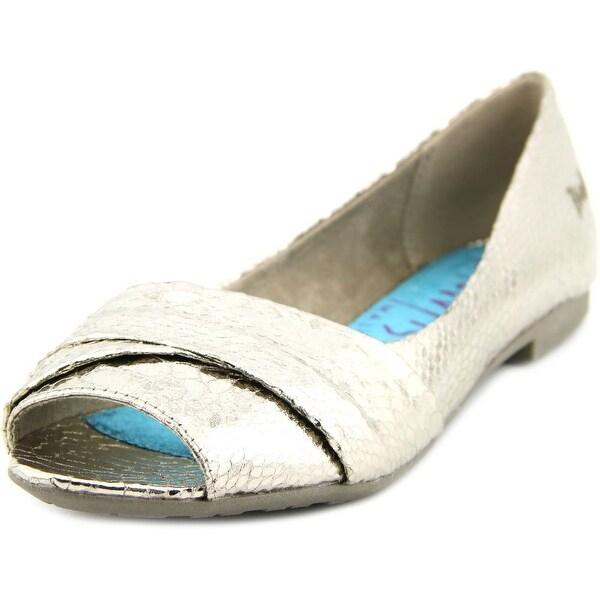 Blowfish Rale Women Peep-Toe Leather Silver Flats