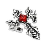 Fleur De Lis Cross with Ruby Diamond CZ Stainless Steel Pendant (37 mm Width)