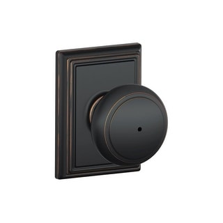 Schlage F40-AND-ADD  Andover Privacy Door Knob Set with Decorative Addison Trim