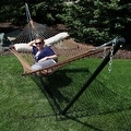 Sunnydaze 2-Person Polyester Rope Hammock with Spreader Bars and Pillow - Hammock Stand Included - Thumbnail 10