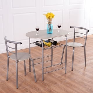 costway 3 piece dining set table 2 chairs bistro pub home kitchen breakfast furniture - Breakfast Table With Chairs