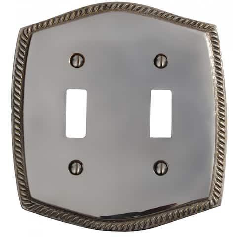 Renovators Supply 4.5 Inch Chrome Finish Switch Plate Cover Double Toggle - Silver