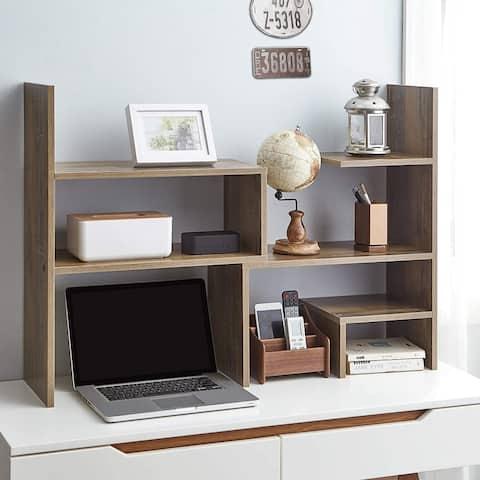 Yak About It Compact Adjustable Dorm Desk Bookshelf - Rustic