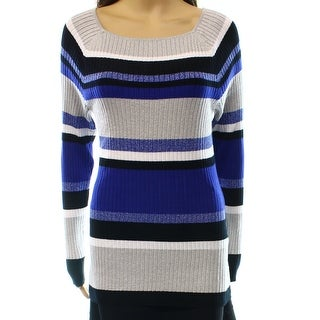 INC NEW Blue Women's Size XS Tunic Square Neck Striped Metallic Sweater