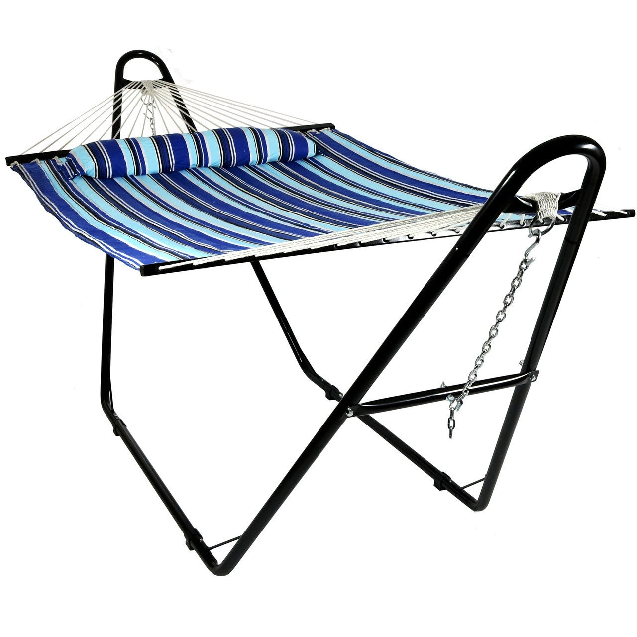 Sunnydaze Quilted Double Fabric 2-Person Hammock with Multi-Use Universal Stand - Thumbnail 9