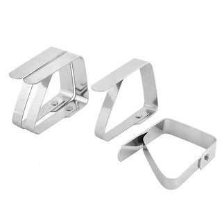 Home Teapot Stainless Steel Table Cloth Holders Clip Clamp Silver Tone 4pcs
