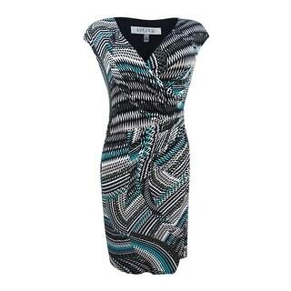 Kasper Women's Plus Size Zigzag Swirls Surplice Dress - loden multi