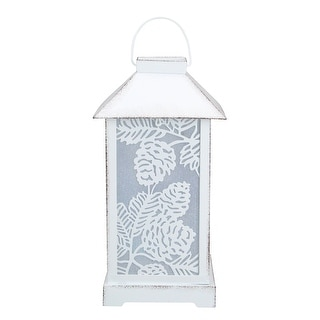 """Link to 10"""" White Battery Operated Led Lantern Table Top Decor Similar Items in Decorative Accessories"""