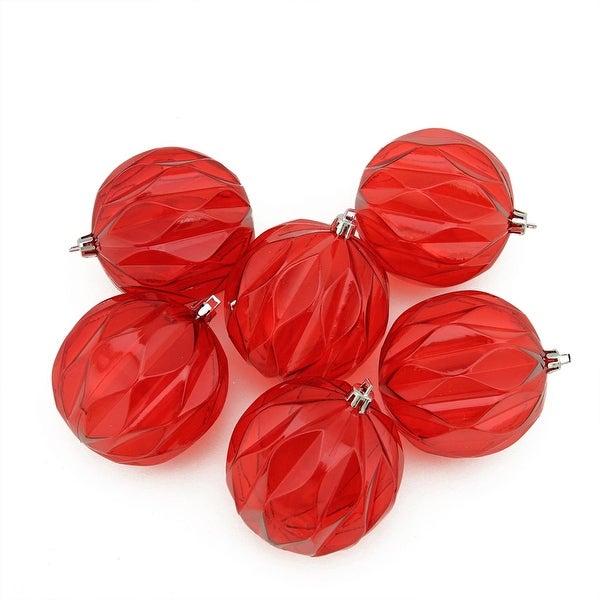 "6ct Red Hot Transparent Rhombus Cut Shatterproof Christmas Ball Ornaments 3"""
