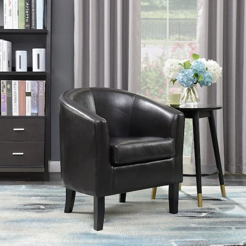 Belleze Modern Arm Club Chair Faux Leather Tub Barrel Style, Brown - standard