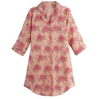 Link to LA CERA Women's Roses Nightshirt Long Sleep Shirt Pajama Top, Pink Floral Print Similar Items in Intimates