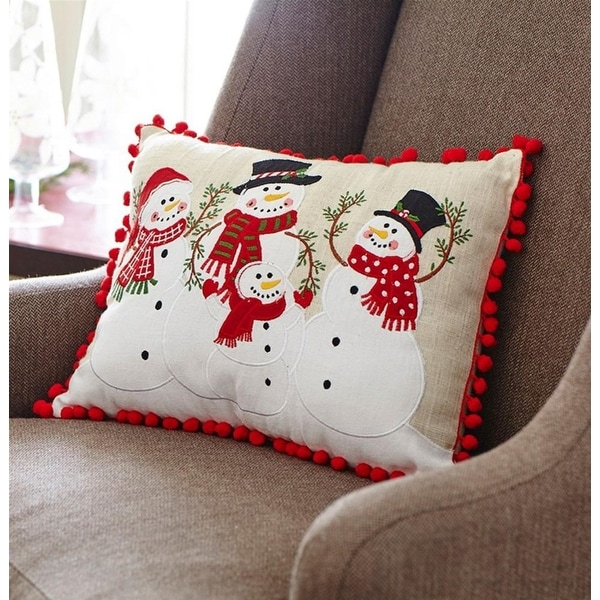 Pack of 2 Snowman's Family Decorative Throw Pillow with Tassels 16.5""
