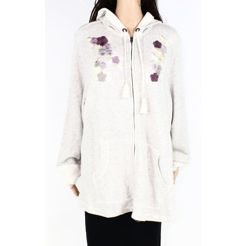 Style & Co Womens Jacket Beige 3X Plus Floral Embroidered Zip Hoodie