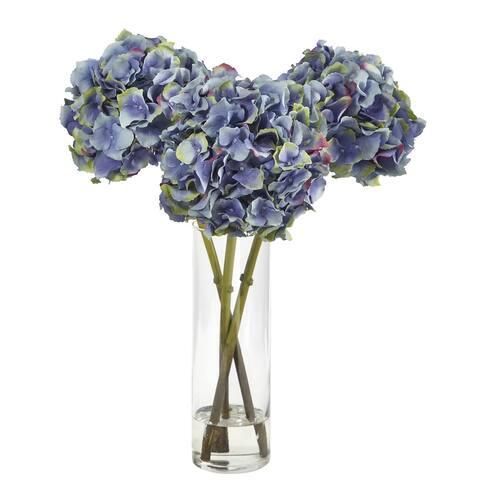"""18"""" Hydrangea Artificial Arrangement in Glass Vase"""