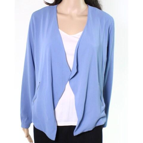 Moa Moa Light Blue Womens Size Medium M Open Front Blazer Jacket