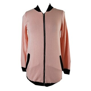 Ny Collection Pink Black Trim Long Bomber Sweater Jacket S