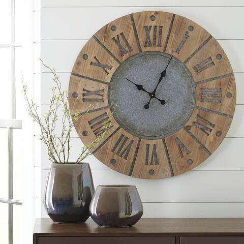 """Payson Gray/Brown Modern Farmhouse Wooden Wall Clock - 30.75"""" W x 1"""" D x 30.75"""" H"""
