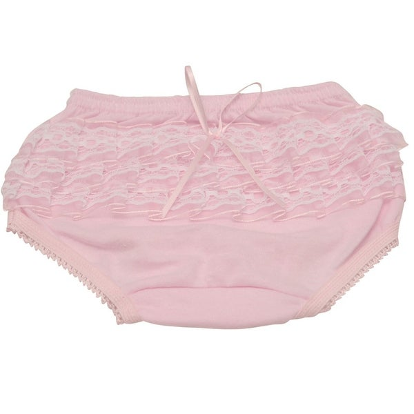 Piccolo Baby Girls Pink Lace Ruffle Detail Scallop Trim Underwear 12M