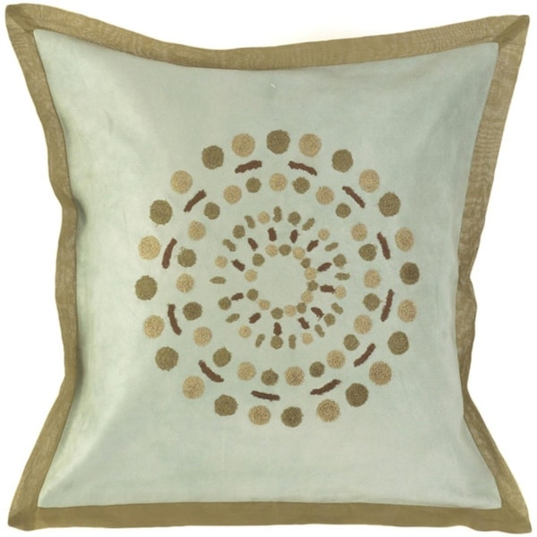 """18"""" Solar Dots Gray, Olive & Brown Decorative Square Throw Pillow - Down Filler"""