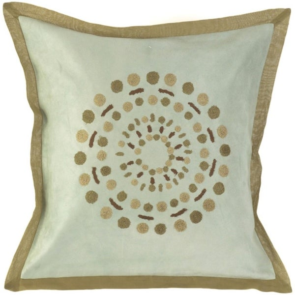 "18"" Solar Dots Gray, Olive and Brown Decorative Square Throw Pillow"