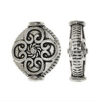 Lead-Free Pewter Beads, Round With Abstract Design Spacers 12x14mm, 6 Pieces, Antiqued Silver