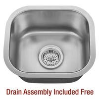 "Miseno MSS1513C 14-5/8"" Undermount Single Basin Stainless Steel Bar / Prep Sink - Drain Assembly Included"