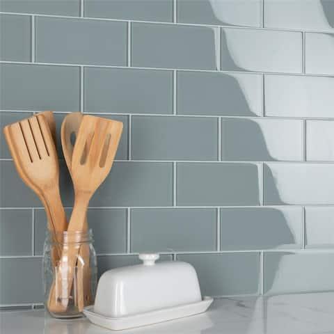 SomerTile 3x6-inch Reflections Subway Blue Smoke Glass Wall Tile