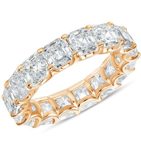 G/VS 10.50 Ct Asscher Cut Moissanite Eternity Ring Wedding Band 10k Gold