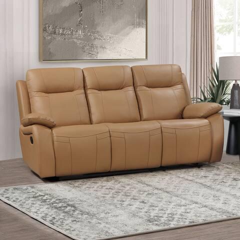 Abbyson Parker Top Grain Leather Manual Reclining Sofa