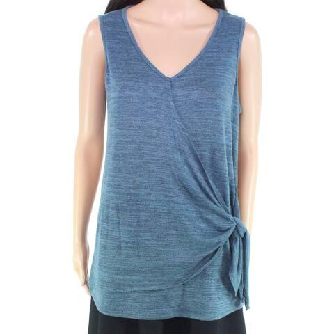 Cupio Women's Top Space-Dye Teal Blue Size Large L Tank Cami Side-Tie