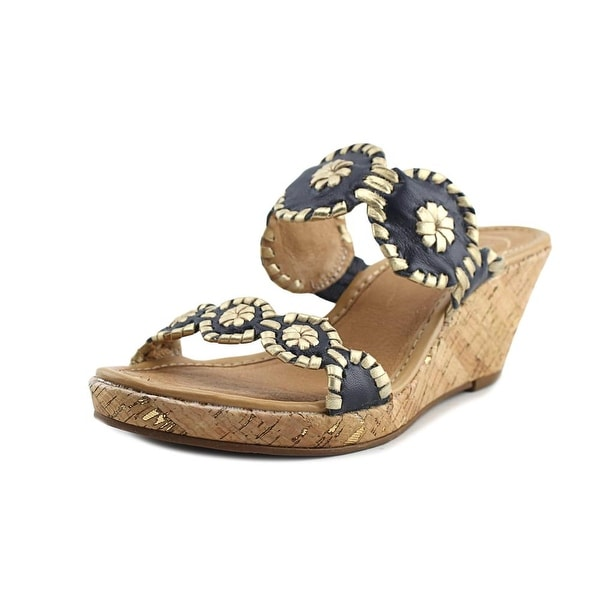 Jack Rogers Shelby Women Open Toe Leather Gold Wedge Sandal
