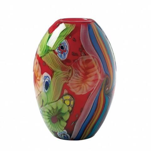 Floral Art Glass Vase